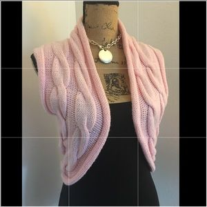 Gorgeous Pink Knitted Sweater Shrug / Cover Up